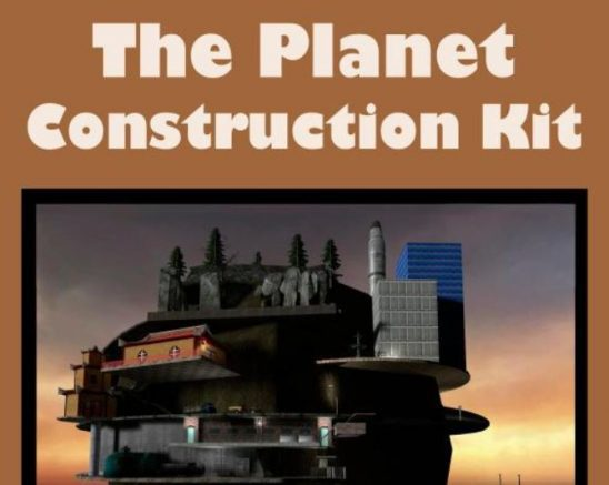 The cover of The Planet Construction Kit, features a strange structure with trees, a rocket, a house and more