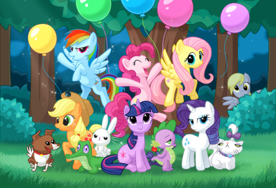 Ponies, girls, and friends.