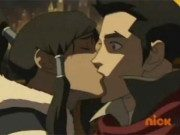 Korra surprises Mako with a kiss