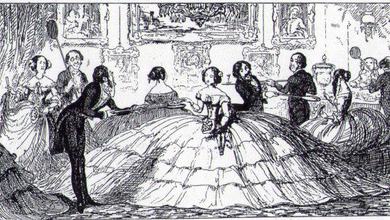 Crinoline Parody by George Cruikshank, from The Comic Almanack, 1850