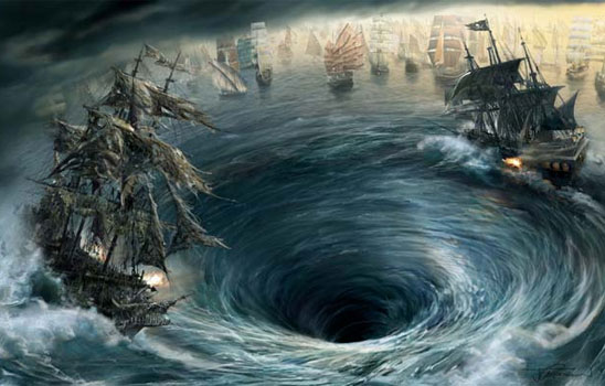 What's better than a huge pirate battle? A huge pirate battle in a whirlpool.