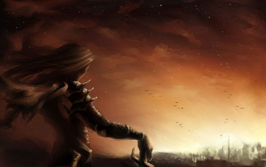 A woman in armor overlooks a city as night falls