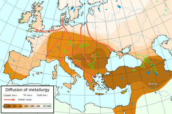 Diffusion of metallurgy in Europe and Asia Minor.