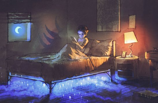 A kid reads in a bed, unaware the shadow behind them outlines a monster and that glowing lights are under their bed