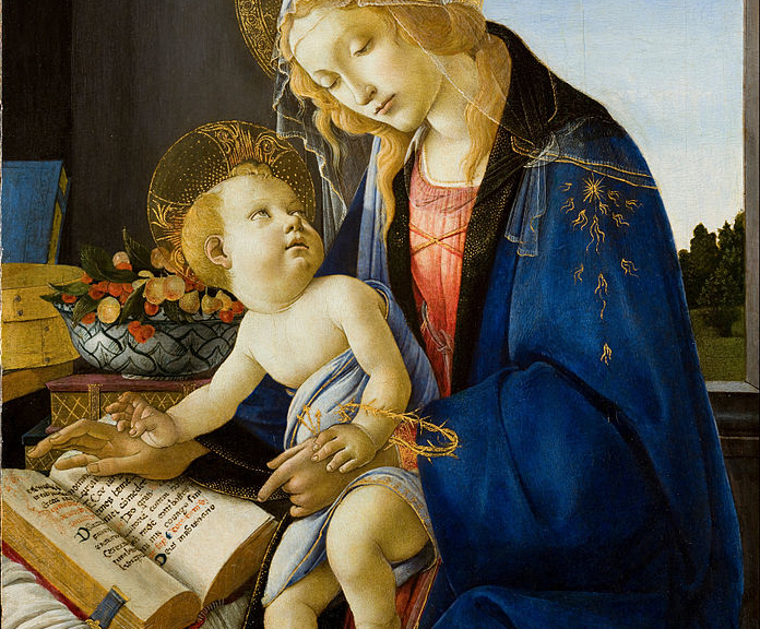 A renaissance painting of a woman showing her child a book.