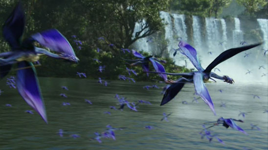 Avatar's Pandora, complete with flying blue beasties and pretty forest waterfall.