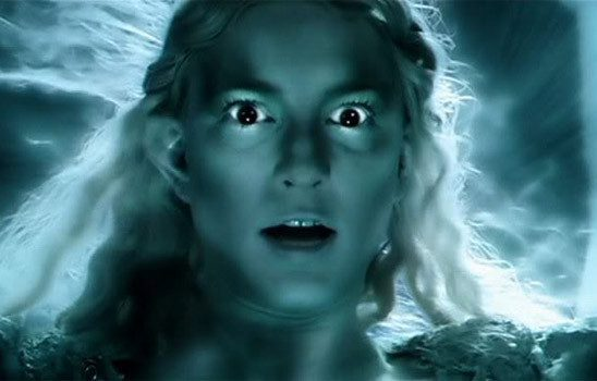 As she contemplates taking the one ring, Galadriel's voice transforms.