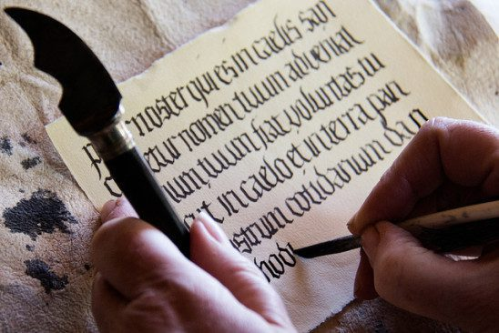 medieval writing on parchment