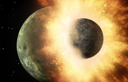 Planet colliding with moon