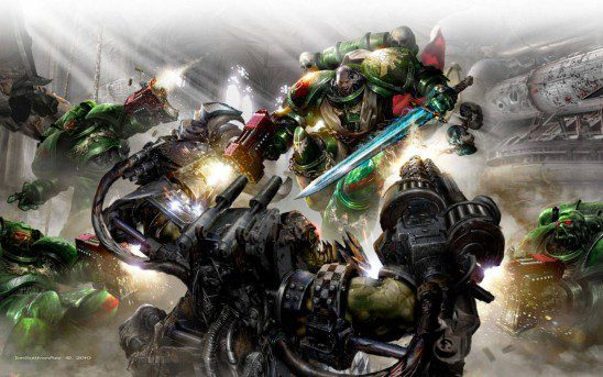 A Dark Angel Space Marine closes with the Ork Warboss
