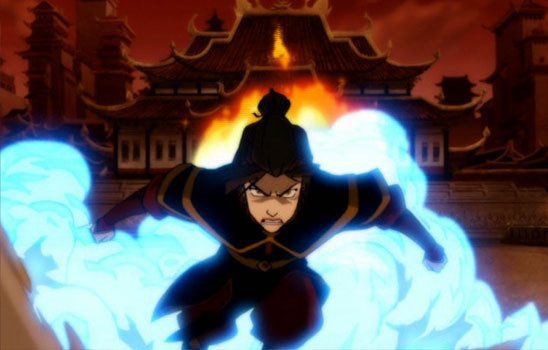 Azula propels herself with blue flame.