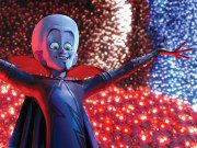 Megamind understands the importance of a good entrance, but he's also a show-off