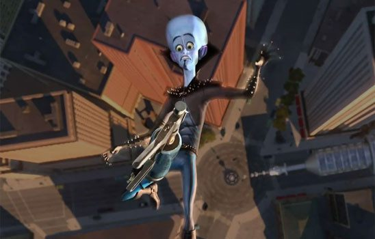 Megamind opens with the titular character falling to his doom.