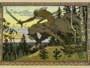 Ivan Bilibin's Koschey depicts the lich riding around on his giant steed.