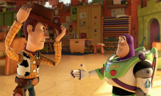 In Toy Story 3, Woody gets mad at the other toys for abandoning their owner Andy, who has grown up and no longer plays with them.