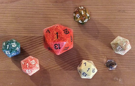 D20s with 1 face up
