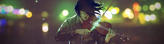 A man with billowing black hair plays a violin outside at night, a green glow coming from his bow on the strings
