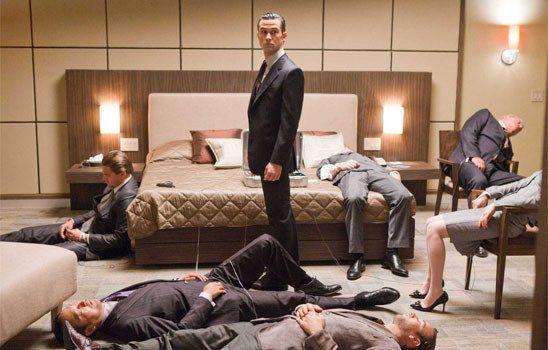 hotel room with sleeping people