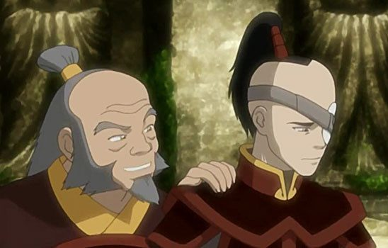 Iroh comforts Zuko shortly after the banishment