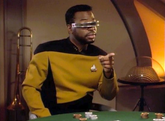 Geordi from Star Trek: TNG at a poker table