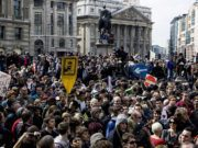 A crowd of protesters in London
