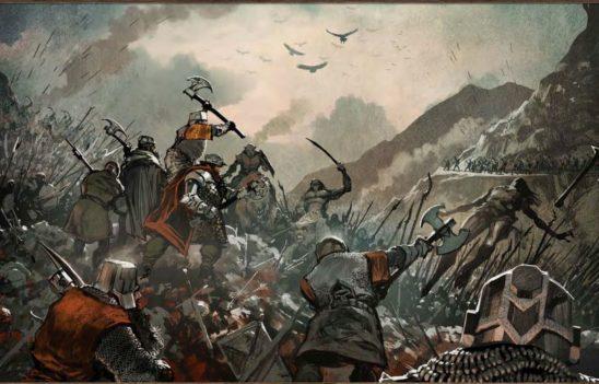 Heroes in battle against orcs.