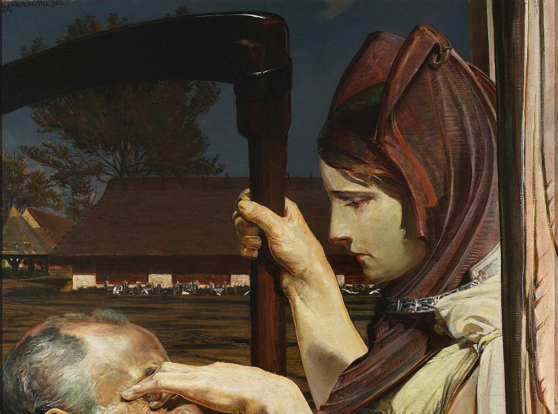 A female death touching an old man's head.