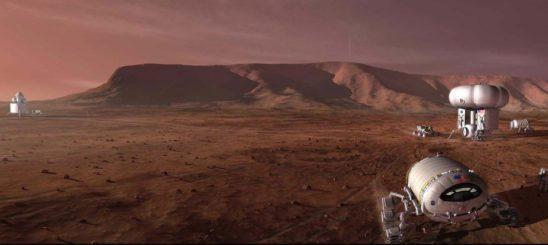 Concept art for a Martian colony.