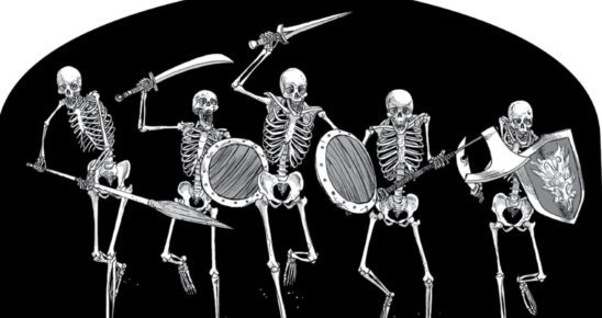 Five skeletons with weapons and shields.