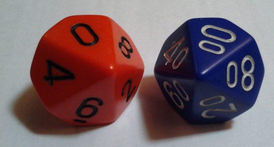 A pair of percentile dice.