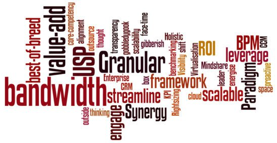 A word cloud of jargon.