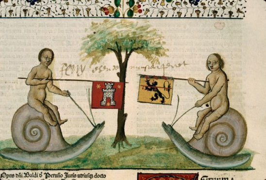 Two combatants jousting on snails.