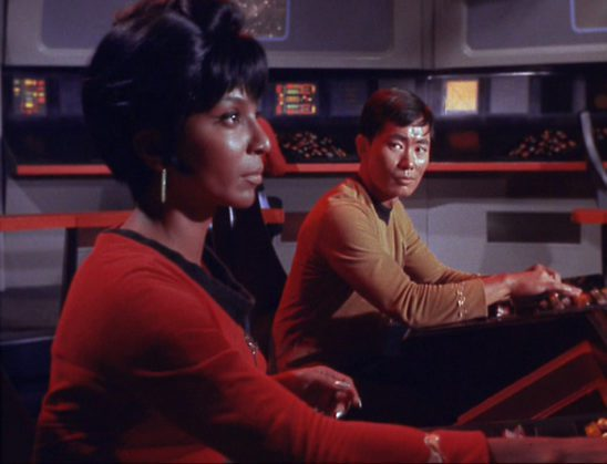 Sulu and Uhura at the helm.