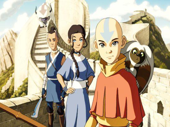 Aang, Katara, and Sokka from Avatar: The Last Airbender.