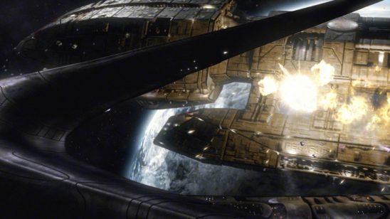 Battlestar Pegasus under attack.