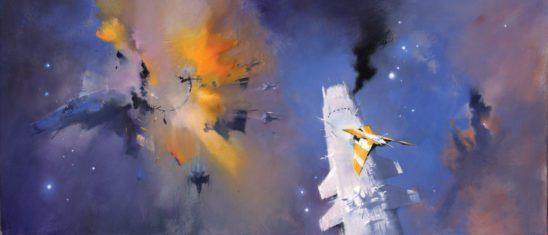 A bunch of ships fleeing a space battle.