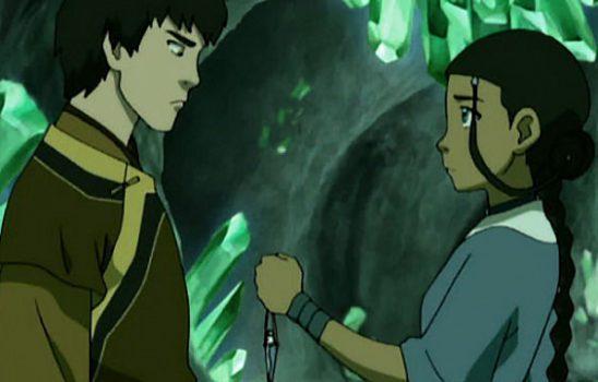 Katara offers Zuko sacred healing water.