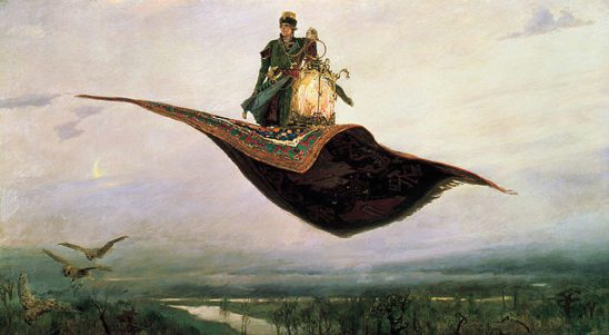 A man with a huge lantern riding atop a magic carpet.