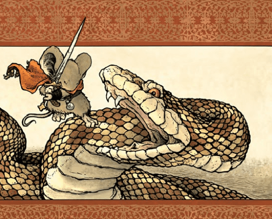 A Mouse Guard warrior attacking a giant snake.