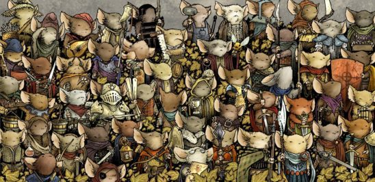 A crowd of mice from the Mouse Guard