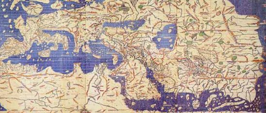 An old map of the world from 1154, which gets most of the continents wrong.