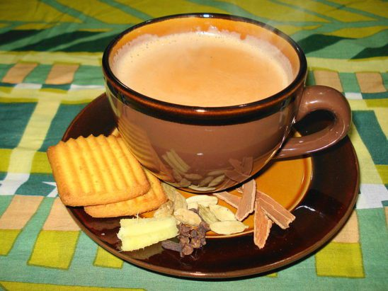 A cup of tea and biscuits.