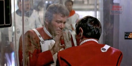 In the Wrath of Khan, Kirk's flaw of overconfidence is addressed in the climax by Spock's death.