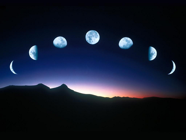 The phases of the moon.