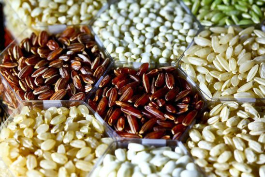 Different types of rice.