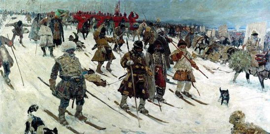 Historical Russian soldiers on skiis.