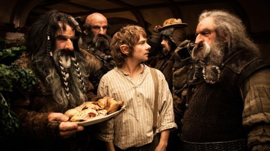 Bilbo and several dwarves from the Hobbit.