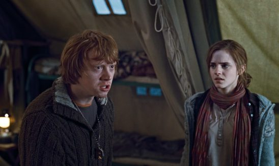 Ron and Hermione in one of the many camping scenes.