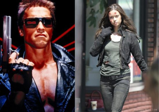 Arnold Schwarzenegger and Summer Glau as terminators.