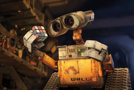 Wall-E with a Rubiks Cube.